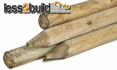 2.4m X 50mm Machined Round Pointed Garden Timber Fence Post Tree Stakes  • 12.84£