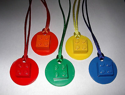 $10.99 • Buy 10 Lego  Brick 2x2 On Disk Necklaces With  Color Cords Party Favor Birthday