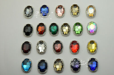 $10.23 • Buy 10 Pcs Costume Dress Oval Color Rhinestone Sewing On DIY Button 20x30mm Silver