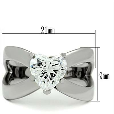 $10.79 • Buy Women's Stainless Steel Heart Solitaire CZ Dual Band Promise Engagement Ring