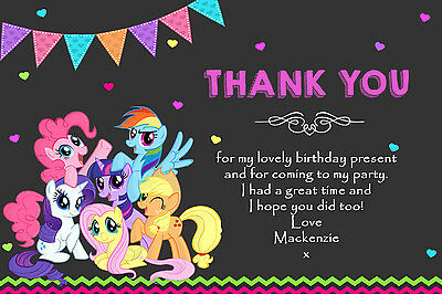Personalised My Little Pony MLP Birthday Party Thank You Cards Inc Envelopes MP2 • 4.75£