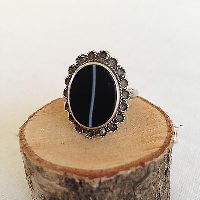 £50.26 • Buy Antique VICTORIAN BANDED AGATE & MARCASITE Stg Silver MOURNING RING Size R - S