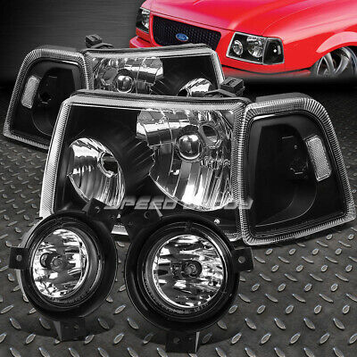$110.94 • Buy Black Housing Headlight+clear Corner+chrome Oe Fog Light For 01-03 Ford Ranger