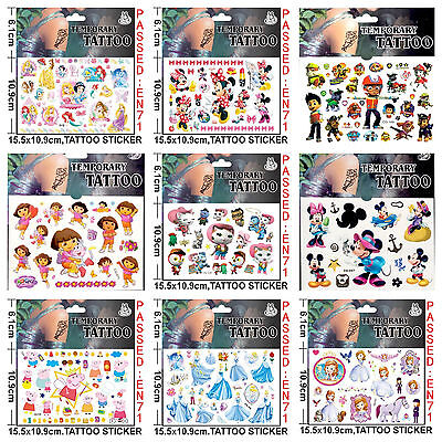 Kids Temporary Tattoos Boys Girls Tattoos Party Bag Loot Bag Tattoo Stickers • 2.50£