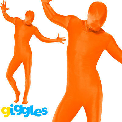 Mens Second Skin Orange Bodysuit Lycra Fancy Dress Party Costume Outfit • 14.48£