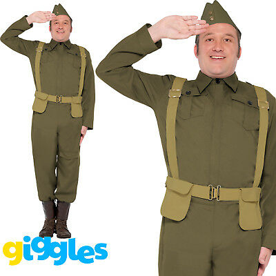 Mens 40s Private Home Guard Dad's Army Costume WW2 Soldier Fancy Dress Uniform • 29.99£
