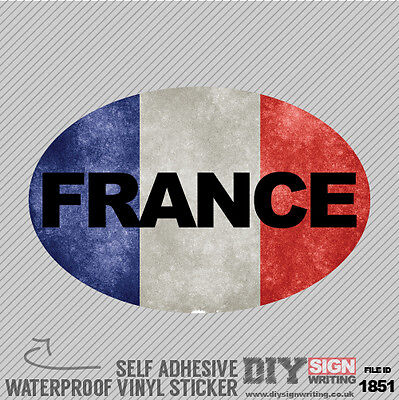 France Car Foreign Grunge Flag Abroad Self Adhesive Vinyl Sticker Decal Window C • 1.99£
