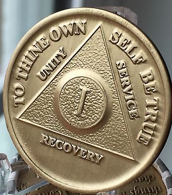 $1.70 • Buy 1 Year Alcoholics Anonymous AA Bronze Medallion Coin Sobriety Chip One