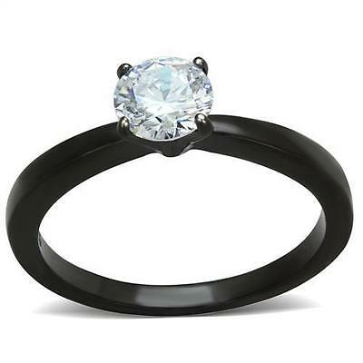 $9.99 • Buy Black Stainless Steel Round Solitaire CZ Wedding Engagement Promise Ring Sz 5-10