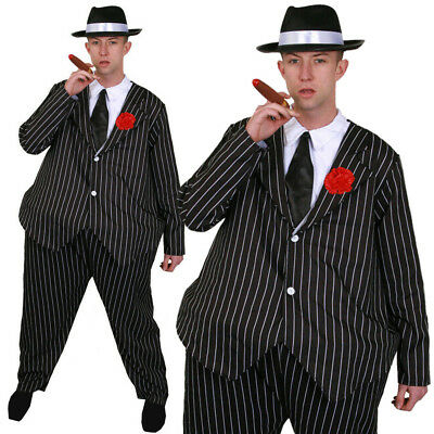 Men's Fat Gangster Suit Adults Fancy Dress Costume Hoop Waisted Attached Flower • 17.99£