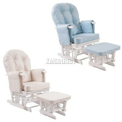 WestWood Nursing Glider Maternity Rocking Chair With Stool White Wood Frame New • 139.99£