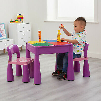Kids Table And Chairs 5-in-1 Activity Play Table And Chairs - Purple • 55.99£