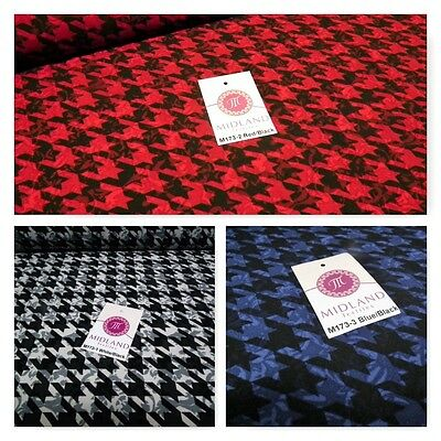Dog Tooth Hounds Tooth Soft Feel Printed Crepe De Chine Fabric 58  M173 Mtex • 8.99£
