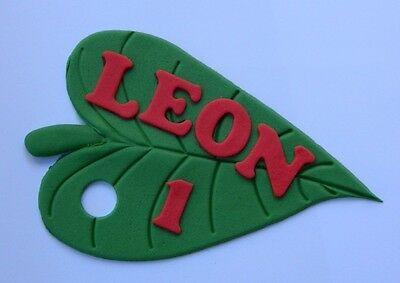 1 Edible NAME MESSAGE PLAQUE HUNGRY CATERPILLAR LEAF Cake Topper DECORATION • 10£