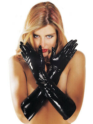 Sharon Sloane Latex Rubber Sexy Gauntlet Gloves - Black • 18.95£