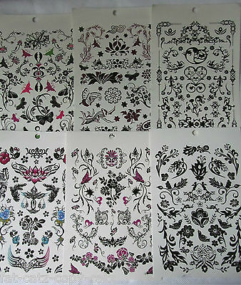 6x SHEETS GIRLS LADIES BLACK ARTY CELTIC TEMPORARY TATTOOS FLOWERS BUTTERFLIES • 2.25£