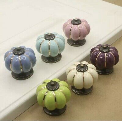 Ceramic Door Knobs. Vintage Pumpkin Style. 6 Classic Colours. Drawer Pulls. • 2.59£