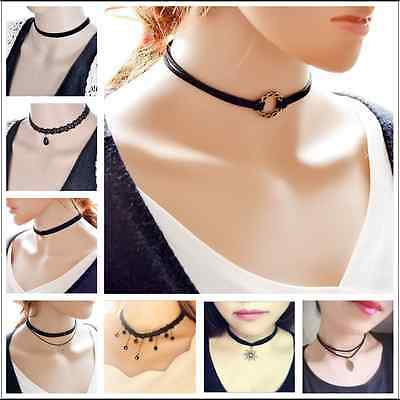 AU3.95 • Buy Sexy Gothic Black Lace Retro Choker Charm Collar Pendant Chain LEATHER Necklace
