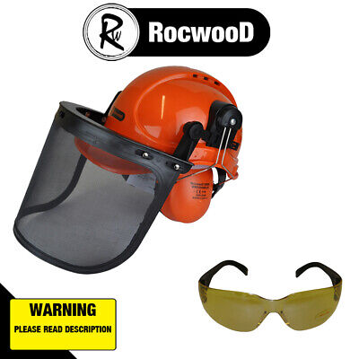 £22.99 • Buy RocwooD Chainsaw Safety Helmet Ear Defenders And Mesh Visor Yellow Tint Glasses