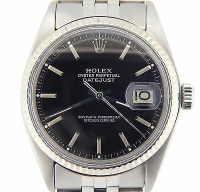 $ CDN5418.48 • Buy Rolex Datejust Mens Stainless Steel Watch With Black Dial & 18K White Gold Bezel