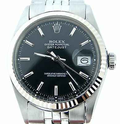 $ CDN5574.29 • Buy Mens Rolex Stainless Steel/18K White Gold Datejust Black W/Jubilee Band 1601