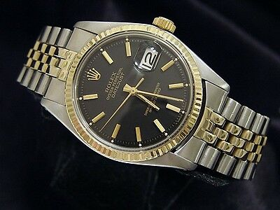 $ CDN6404.88 • Buy Rolex Datejust Mens 2Tone 14K Gold Stainless Steel Watch Black Dial Jubilee Band