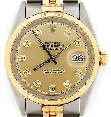 $ CDN6038.82 • Buy Rolex Datejust Men Two-Tone Gold Stainless Steel Champagne Diamond Dial 1601