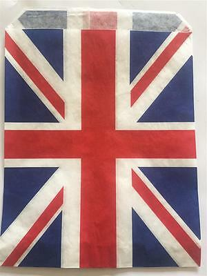 £7.95 • Buy 100 UNION JACK STRIPE PAPER BAGS 7 X 9  IDEAL FOR CARDS SMALL GIFTS ETC