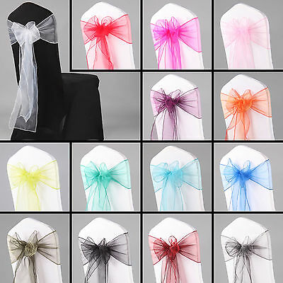 £34.99 • Buy 1 10 50 100 Organza Sashes Chair Cover Bow Sash WIDER FULLER BOWS Wedding Party
