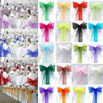 £4.59 • Buy 1 10 50 100 Organza Sashes Chair Cover Bow Sash WIDER FULLER BOWS Wedding Party