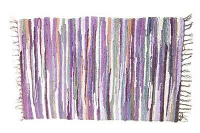 £12.99 • Buy RAG RUG FAIR TRADE INDIAN MAT HAND LOOMED BRAIDED RECYCLED COTTON 60x90cm PURPLE