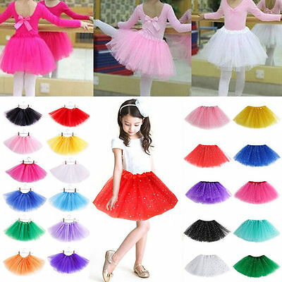 13 Colors Girls Childrens Kids Ballet Dance Tutu Skirt Pettiskirt Dress Costume • 1.19£