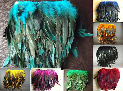 £3.99 • Buy Rooster Hackle Coque Feather Fringe Craft Trim Sewing Costume Millinery 8 Colors