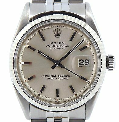 $ CDN4469.77 • Buy Rolex Datejust Mens Stainless Steel Watch 18K White Gold Bezel Silver Dial 1601