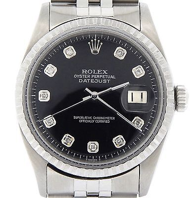 $ CDN5574.62 • Buy Rolex Datejust Mens SS Stainless Steel Jubilee Black Diamond Dial Watch 1603
