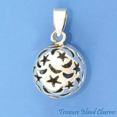 Celestial Ball With Cutout Moon And Star 3D .925 Sterling Silver Pendant Stars • 15.45$