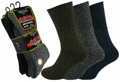 3 Pairs Mens Non Elastic Wool Blend Thermal Diabetic Socks Thick Warm Size 6-11 • 6.99£