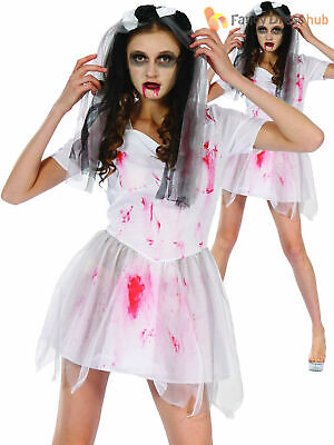 Ladies Bloody Bride Costume Adults Zombie Halloween Fancy Dress Womens Outfit • 9.95£