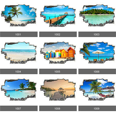 Beach Paradise Tropical Sea Ocean 3D Art Wall Stickers, Wall Mural Vinyl Decals • 6.99£