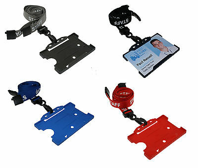 STAFF Neck Lanyard And Matching ID Card Pass Badge Holder PICK YOUR COLOUR - UK • 2.25£