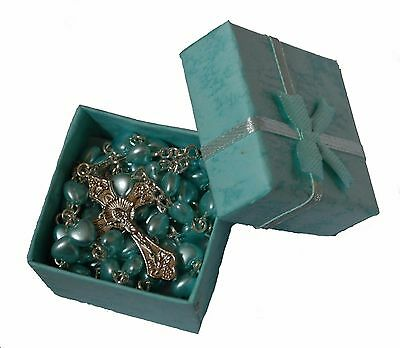 Boys Blue Heart 1st Rosary Beads In Gift Box Communion Baptism Confirmation Baby • 6.99£