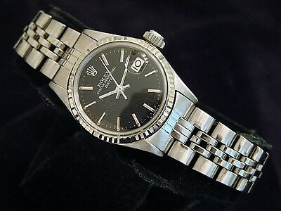 $ CDN3389.93 • Buy Vintage Rolex Date Ladies Stainless Steel & 18K White Gold Watch Black Dial 6517