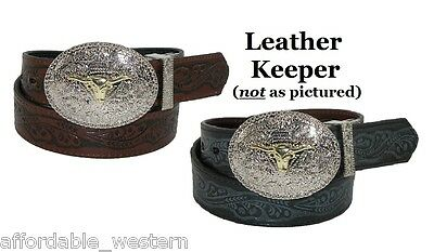 $16.99 • Buy ~KID'S WESTERN BELT ~ Tooled Leather - Removable Silver Buckle - Cowboy