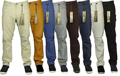 Kam Mens Chinos Trousers Casual Straight Leg Chino Jeans Pants All Waist Size