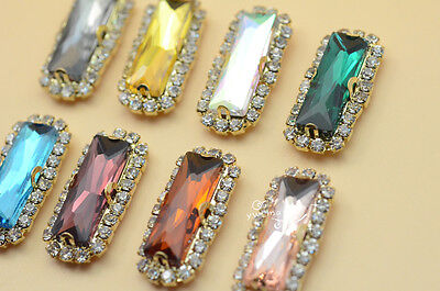 $5.07 • Buy 10 Pcs 7x21mm Costume Dress Rectangle Color Rhinestone Sewing On Button