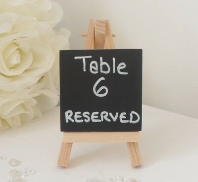 Mini Small Wooden Chalk Blackboard Easel Name Number Place Card Table - Wedding • 6.25£