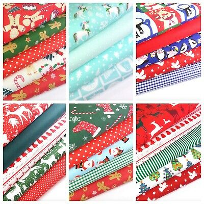 Christmas Patterned Fabric Bundles Fat Quarters Polycotton Material Craft • 8.49£