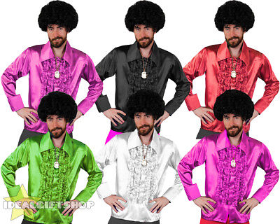 Mens 1970's Disco Ruffle Shirts Adults Fancy Dress Costume 70's Frilly Top 1960s • 8.99£