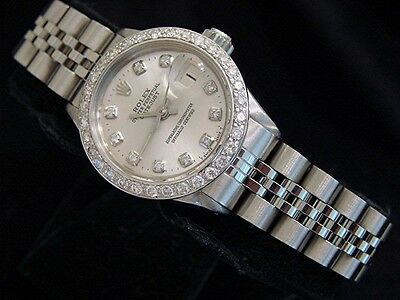 $ CDN5006.29 • Buy Vintage Rolex Datejust Lady Stainless Steel Watch Silver Diamond Dial 1ct Bezel