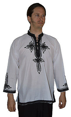 Moroccan Men Tunic Shirt Cafan Casual Handmade Embroidered Cotton MED/LG White • 12.15£